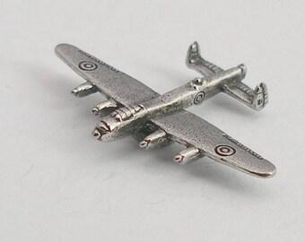 Avro Lancaster Bomber Plane Pin Badge in Fine English Pewter, Handmade, WW2
