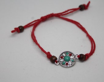 Circular Flower Charm and Red Hemp Bracelet