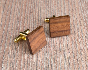 Wood Cufflinks, Square rosewood cufflinks, Wedding Cufflinks, 5th Wedding Anniversary Present, cufflinks for men, groomsmen, customized