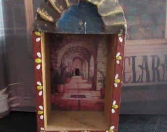 Vintage Primitive Alter Folk Art Mexico Hanging Alter Shrine