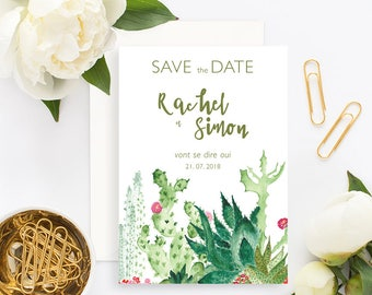 Cactus Wedding Save the Date with white envelope - Wedding Save the Date - Cactus Wedding Invitation - Bohemian Palm Springs - Save the Date