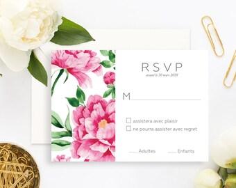 Peonies Wedding RSVP Card with white envelope - Wedding RSVP Card - Floral Wedding - Peonies Wedding Invitation - Floral RSVP Card
