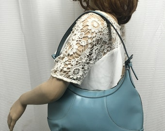 Cole Haan, blue leather purse, bag, shoulder bag