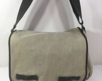 Large Green Canvas Messenger Bag, Shoulder Bag