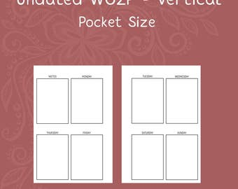 Pocket Size Vertical Week On Two Pages Calendar Insert [PRINTED]