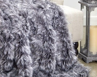 Luxurious Faux Fur Throw Blanket  - Spotted Gray Lynx - Silky Soft Minky Cuddle Fur Back - Fur Accents Designs USA