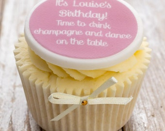 Birthday Cupcake Toppers - personalised edible sugar cupcake decorations (pack of 12)