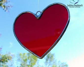 Red Heart Stained Glass Sun Catcher 5 Inch Tiffany Glass Heart Suncatcher Made to Order Valentine Gift Idea