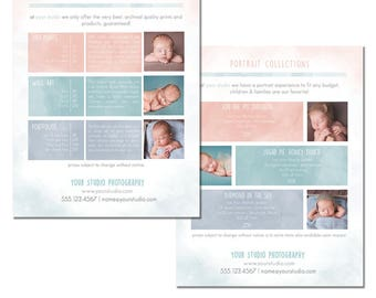 INSTANT DOWNLOAD, Packages Sell Sheet + A la Carte Pricing Template, Photography Marketing Template, 8.5 x 11 size, Newborn, Family, Pastels