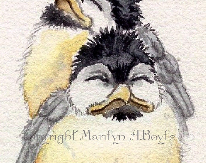 ACEO LIMITED EDITION Print; baby chickadees, from a watercolor painting, run of 20,