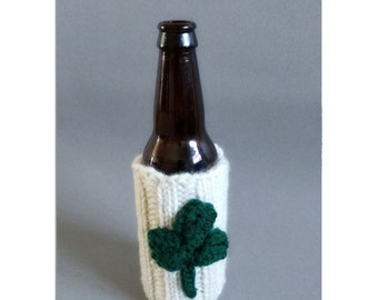 St. Patrick's Day Decorations / Irish Pub Decor / Shamrock Decorations / Beer Sweater / Beer Sleeve / Green and White Beer Coaster