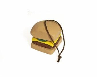 Square Cheeseburger Ornament - Hamburger Ornament - Polymer Clay Ornament - Food Ornament - Fast Food Ornament - Christmas Ornament