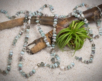 Jewelry Necklace Beaded Necklace     Long Gemstone Necklace    Hand Knotted Silk Cord Necklace