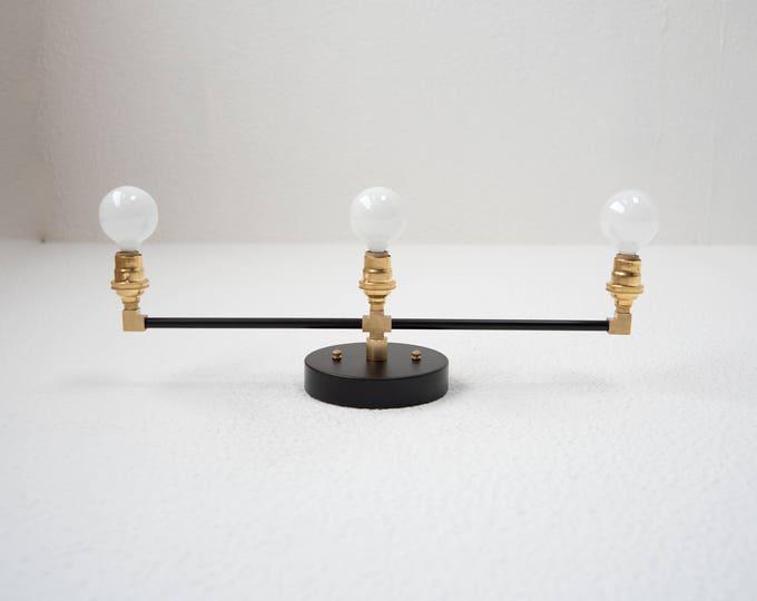 3 Light Wall Sconce Black And Brass Gold 3 Bulb Modern Mid Century  Industrial Light Bathroom