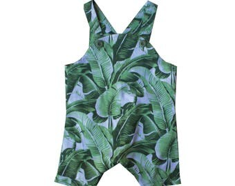 romper, overalls  Baby boy, toddler boy, romper, Baby girl, Toddler Girl,green tropical leaf romper