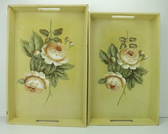 vintage home decor lot | vintage decor tray lot | nesting wood trays | handle trays | floral serving trays | Seymour Mann | centerpiece tray