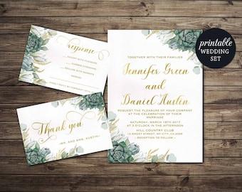 Printable Wedding Invitation Floral Wedding Invitation Set, Green Gold Wedding Invitation, Botanical Greenery Succulent wedding Invitation