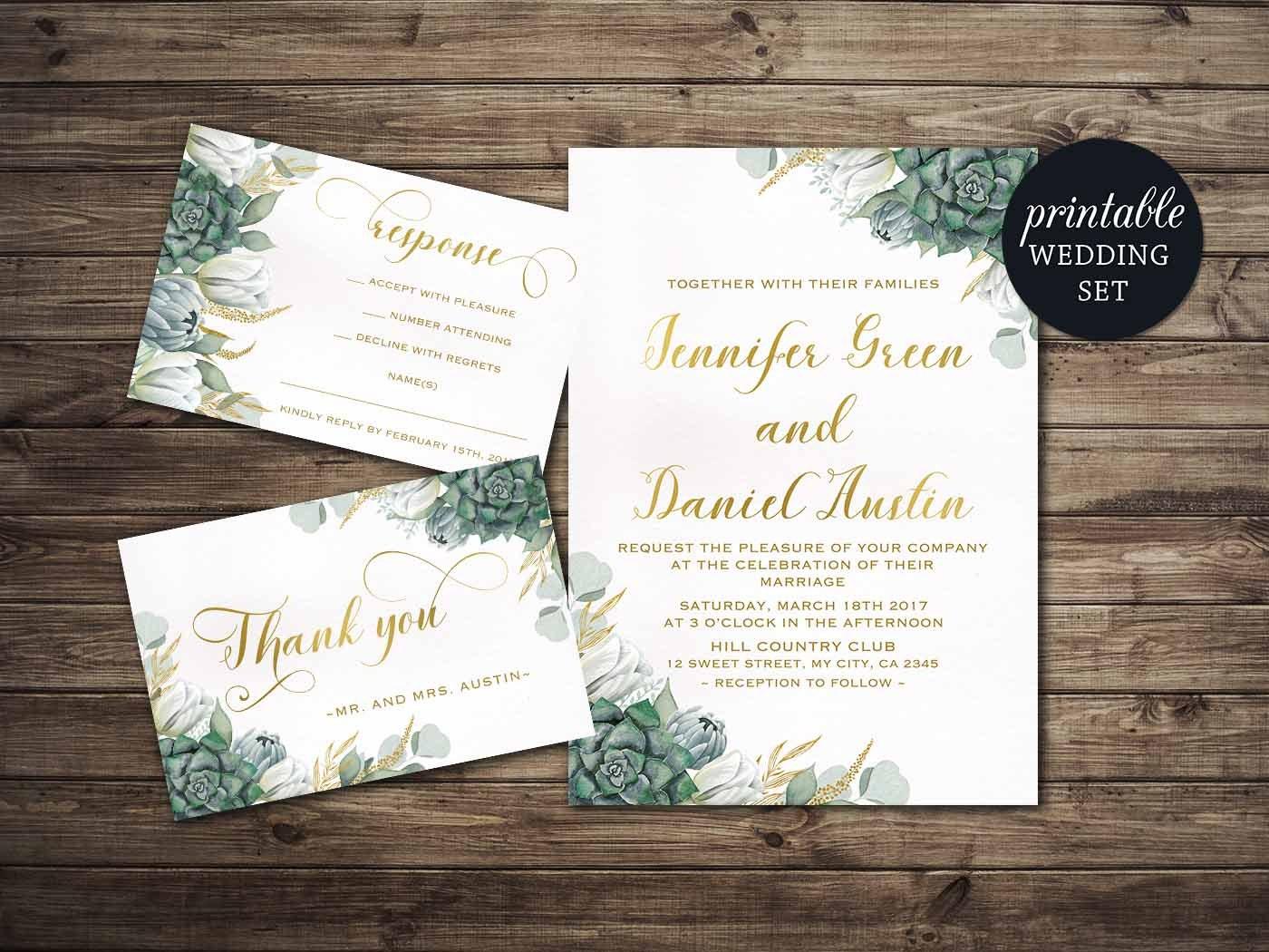 Print Out Wedding Invitations: Printable Wedding Invitation Floral Wedding Invitation Set
