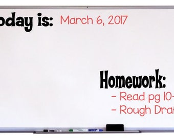 Homework Decal for Classroom, Whiteboard Decal, Classroom Decor, Classroom Organization, Classroom Art, Classroom Sign, Chalkboard Decal