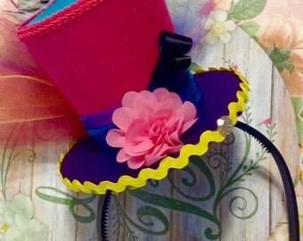 "Whimsical Felt Mini Top Hat Fascinator - Steampunk, Child's Birthday, Mad Hatter Tea Party, Bridal Shower, Alice in Wonderland (3.5"" Tall)"