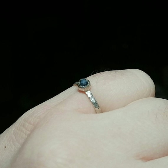 Blue Sapphire Stacking Ring | Sterling Silver Ring Sz 6.5 | Raw Sapphire Ring | Raw Blue Sapphire Jewelry | Sapphire Stacker Ring
