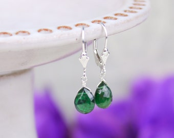 Emerald Green Apatite Earrings, Gemstone Drop Earrings, Sterling Silver Gold Filled Leverback Earrings, Closed Earrings