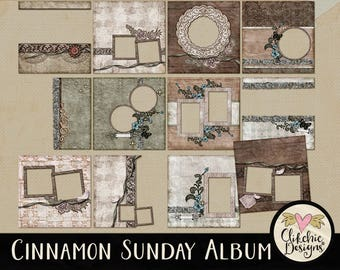 Shabby Vintage Digital Quick Page Album - Shabby Heritage Digital Scrapbook Album - 12 Vintage Style Pre-Made Layout Pages