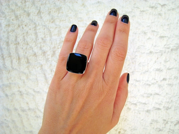 Onyx black ring, black statement ring, silver tone black resin ring, modern minimalist jewelry, sexy goth rock ring, black cocktail ring