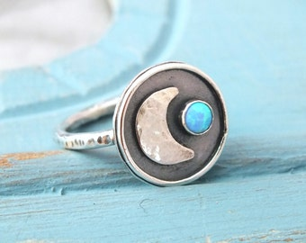 Sterling Silver Crescent Moon Ring, Opal Gemstone Moon Ring, Oxidised Silver Moon Ring, Handmade Opal Ring