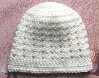 Crochet Beanie, Lightweight Hat, Off White, Handmade by KathysYarnCreations