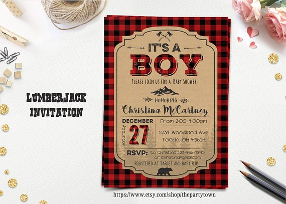 LUMBERJACK BABY SHOWER Invitation Its A Boy Winter Shower
