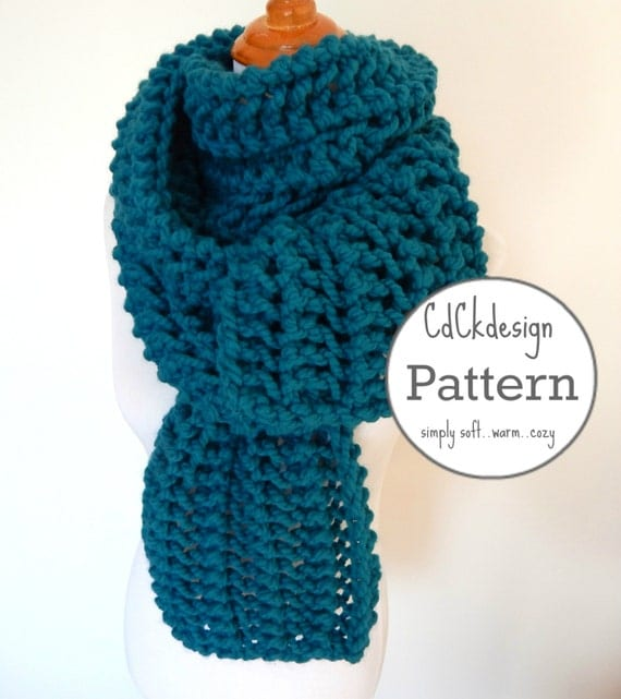 Open Knit Scarf Pattern : PATTERN Chunky Knit Scarf Giant Scarf Open Ended Scarf