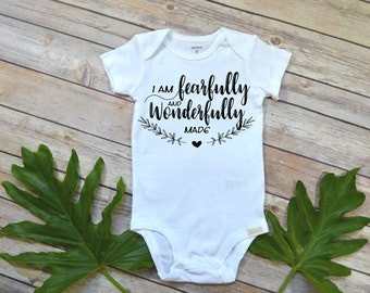 Baby Shower Gift, I am Fearfully and Wonderfully Made, Newborn Baby Gift, Niece gift, Cute Baby Clothes, Religious Baby Gift, Christian Baby