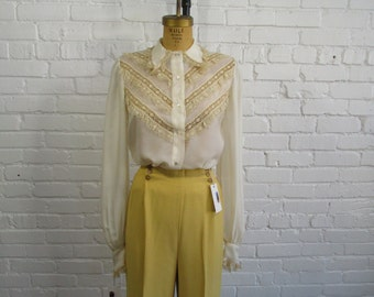 1930s Tatted Silk Blouse // 30s Long Sleeve Top // Vintage 1930s Lacey Blouse