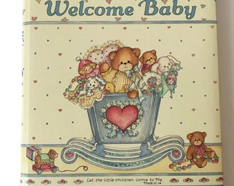 Vintage 1986 Baby Book Welcome Baby, Lucy Rigg & CR Gibson, Printed USA, Teddy Bears and Toys Theme, Scripture Verse, Religious, Lucy Bears