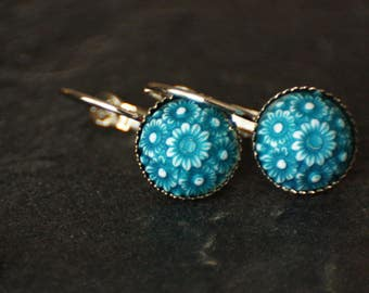 Bronze earrings, vintage, brown, turquose, cabochon