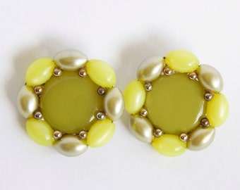 Large Round Green Clip Earrings - Shades Of Green - Beautiful Back
