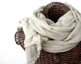 Almond Beige Nomad Scarf, Extra Large Cotton Scarf for Men, Neutral Shawl Women, Naturals, Lightweight Gauze, Travel Wrap, Sarong, Rustic