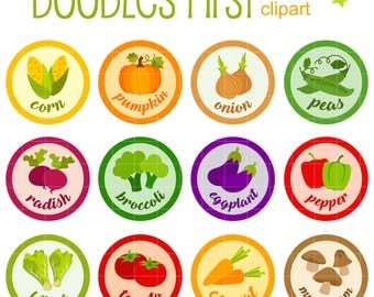 Vegetable Badges Collage Sheets for Scrapbooking Card Making Cupcake Toppers Paper Crafts Digital Collage Sheet