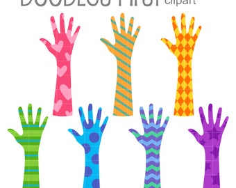 Hand and Arm Patterns Digital Clip Art for Scrapbooking Card Making Cupcake Toppers Paper Crafts