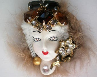 Artisan Created Lady in Fur Brooch - 5352
