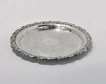 Oneida Silver Plate Serving Tray USA Engraved Iverson Wedding Bride Gift Serving Drinks Sweets Dessert Vanity Tray Candles