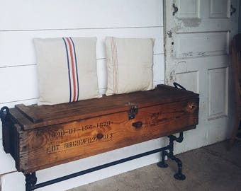 Farmhouse Industrial Storage Bench - Reclaimed Ammo Box and Iron Pipe - LOCAL PICK UP