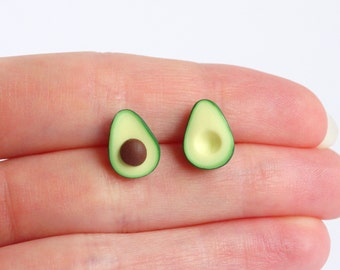 Green miniature avocado ear studs stud earrings asymmetric pair healthy food superfood funny earrings earstuds post earrings avocado