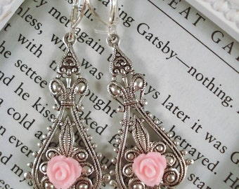 Pink Rose Earrings Victorian Jewelry Silver Filigree Earrings Rose Jewelry Gift For Her