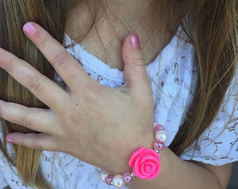 Girl's Pink Rose Stretch Bracelet Toddler Flower Girl Jewelry