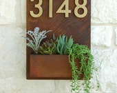 Mid-Century Madness Planter w/ Brass Address Numbers (Free Shipping)