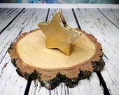 Wooden star decor shabby chic gold antiqued rustic Christmas decor standing small gift nursery decor