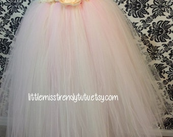 Newborn to Girls Vintage Light Pink and Ivory Flower Girl Tutu Dress with Handmade Ivory Flowers