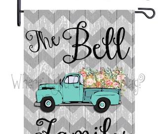 Custom Personalized Garden Flag Vintage Truck Flowers